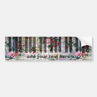 music piano vintage floral bumper sticker
