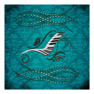 Music, piano with clef poster