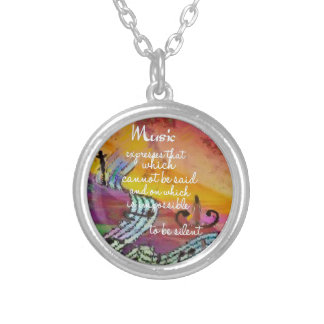 Music possesses a special charm difficult to hide silver plated necklace