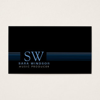 Music Producer EntertainmentSkills StripedMonogram Business Card