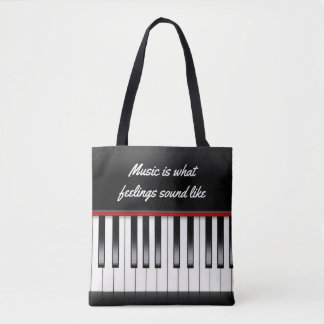 music quote with piano keyboard tote bag