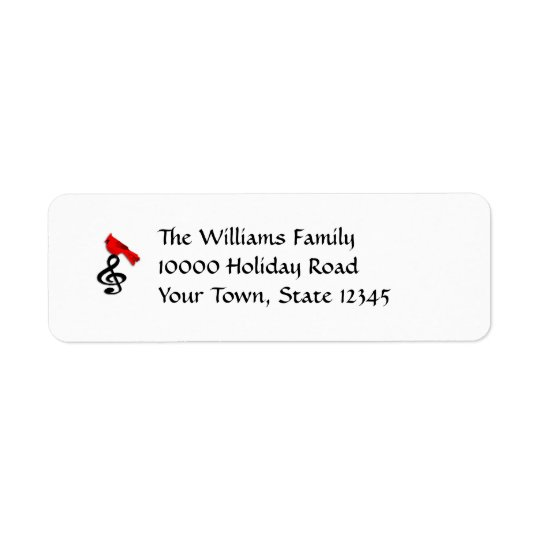 Music & Red Bird Return Address Labels