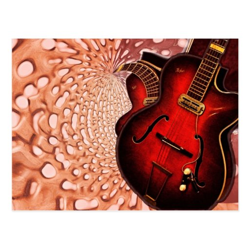 Music Red Guitar Soundwaves Postcard