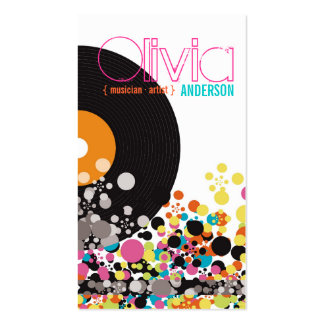 Music Retro Vintage Vinyl Colorful Pop Dots Artist Business Card