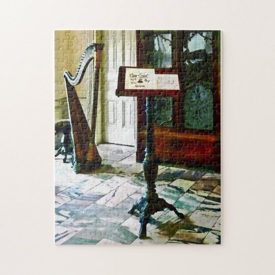 Music Room With Harp Jigsaw Puzzle