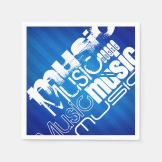 Music; Royal Blue Stripes Disposable Napkin