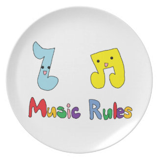 Music Rules Cute Music Notes Dinner Plates