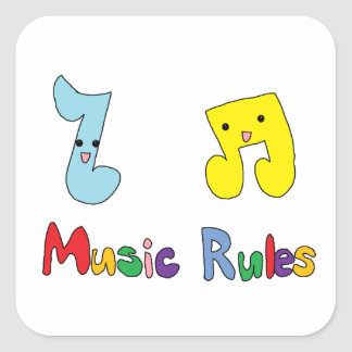 Music Rules Cute Music Notes Square Sticker