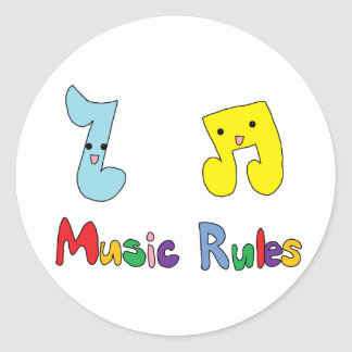 Music Rules Cute Music Notes Round Sticker