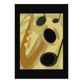 MUSIC SAXOPHONE LIVE JAZZ BLUES RETRO COLORS ENTER CARD
