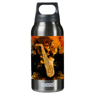 Music, saxophone with grunge insulated water bottle