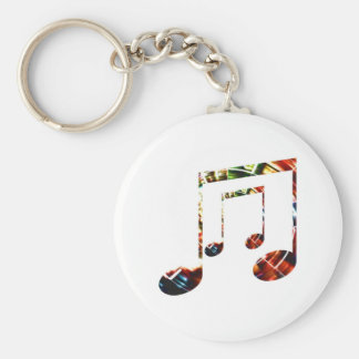 Music Sparkle Red Basic Round Button Key Ring