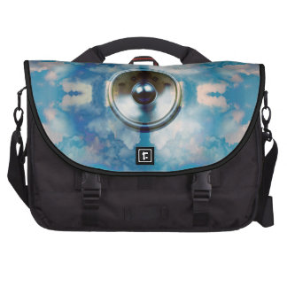 Music speaker and cloudy blue sky laptop bag