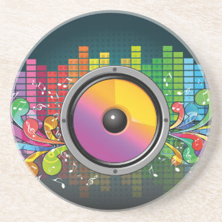 Music speaker colorful artistic illustration drink coaster