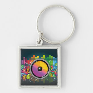 Music speaker colorful artistic illustration key chain