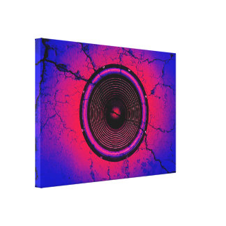 Music speaker on a cracked wall canvas print