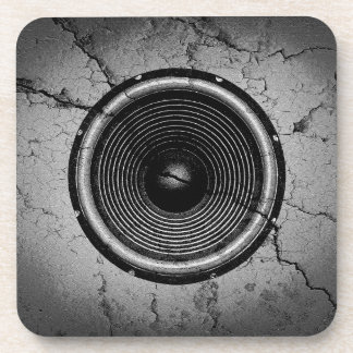 Music speaker on a cracked wall coaster
