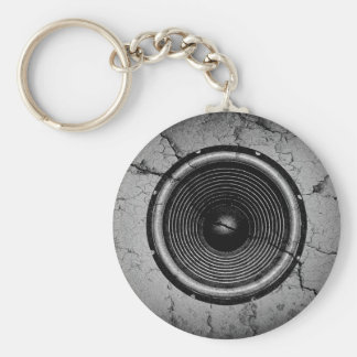 Music speaker on a cracked wall key ring