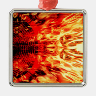 Music speaker with flames Silver-Colored square decoration