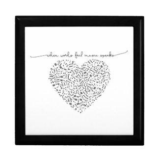 Music Speaks Heart (Black Text) Custom Color Gift Box