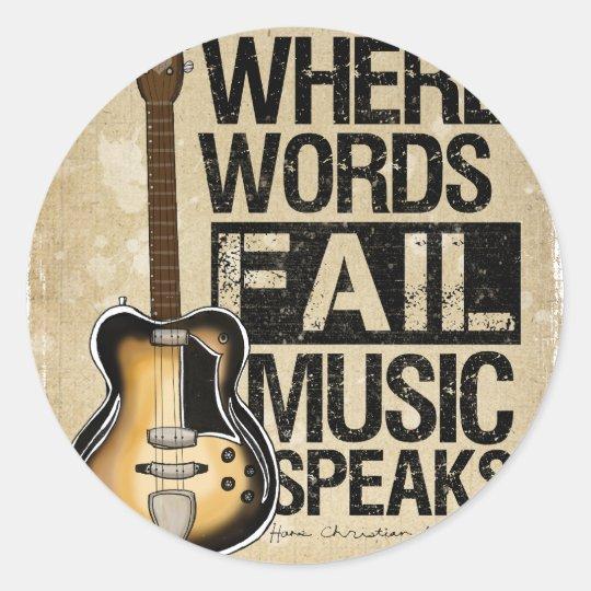 music speaks round sticker