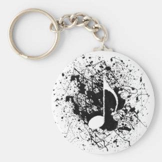 Music Splatter Basic Round Button Key Ring
