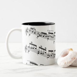 Music staff and notes favorite mug. Two-Tone coffee mug
