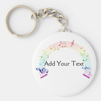 Music Staff Semi-Circle Rainbow on White Key Ring