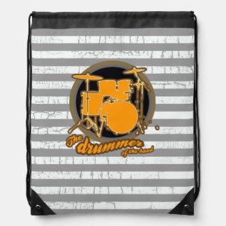 music stripy drummer drawstring bag