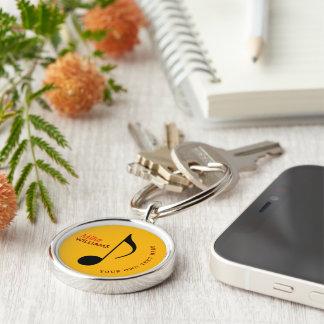 music symbol yellow keychain with name