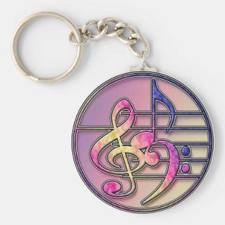 Music Symbols 1 Basic Round Button Key Ring