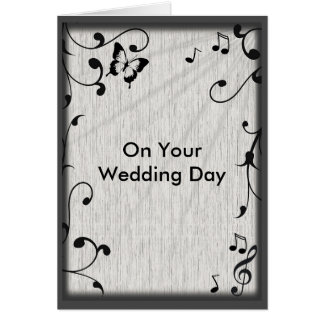 Music Symbols, Butterfly, Leaves on Gray Wedding Card