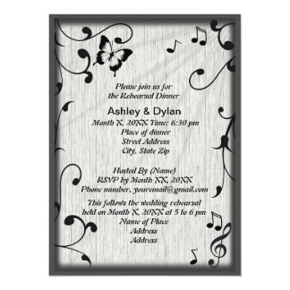 Music Symbols, Butterfly, Leaves Rehearsal Dinner 14 Cm X 19 Cm Invitation Card