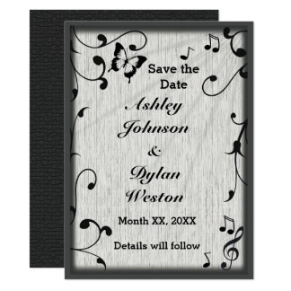 Music Symbols, Butterfly, Leaves Save the Date Card