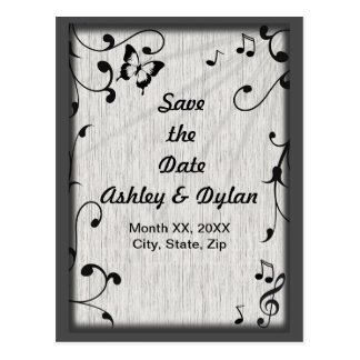 Music Symbols, Butterfly, Leaves Save the Date Postcard