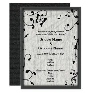 Music Symbols, Butterfly, Leaves Wedding Invite