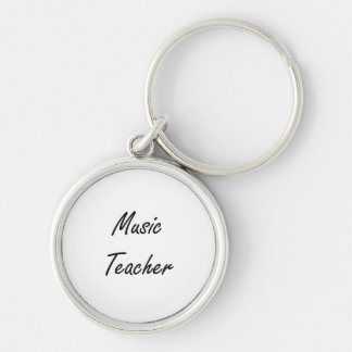 Music Teacher Artistic Job Design Silver-Colored Round Key Ring