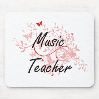 Music Teacher Artistic Job Design with Butterflies Mouse Pad