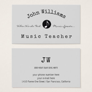 music teacher business card with musical note