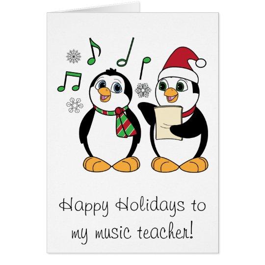 Music teacher christmas penguins singing card for Penguin christmas cards homemade