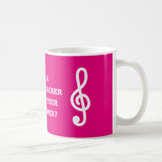 Music teacher coffee music with g treble clef note coffee mug