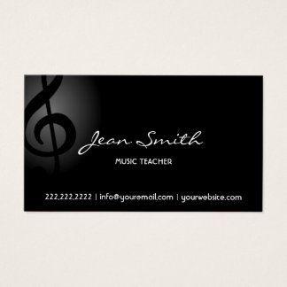 Music Teacher Elegant Dark Clef Business Card