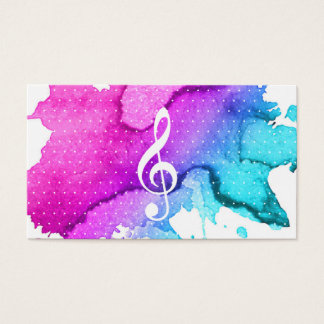 Music Teacher Elegant Watercolor Modern Business Card