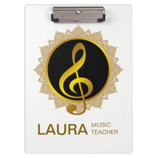 Music Teacher Gold Lotus Mandala Musician DJ Clipboard