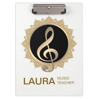 Music Teacher Gold Lotus Musician DJ Clipboard