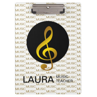 Music Teacher Gold Piano Keyboard Musician DJ Clipboard