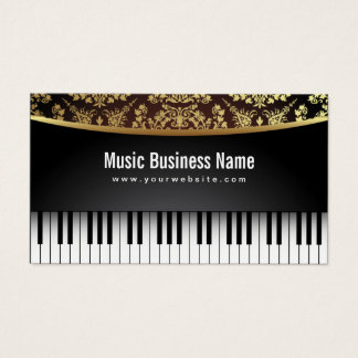 Music Teacher Luxury Realistic Piano Business Card