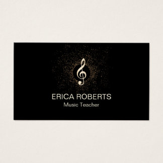 Music Teacher Musical Modern Gold Clef Confetti Business Card