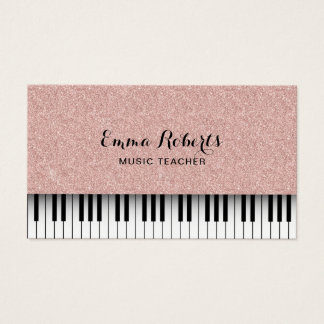 Music Teacher Piano Keyboards Rose Gold Glitter