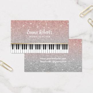 Music Teacher Piano Keys Modern Rose Gold Glitter Business Card